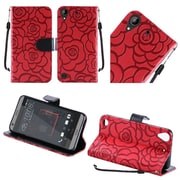 Insten Textured Rose Flower Design Leather Wallet Flip Cover Case For HTC Desire 530 - Red