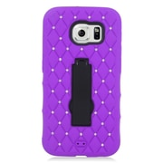Insten Symbiosis Hard Dual Layer Rubber Coated Silicone Case w/stand/Diamond For Samsung Galaxy S6 - Purple/Black