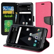Insten Textured Carbon Fiber Leather Wallet Flip Cover Protective Case For LG Aristo / LV3 - Hot Pink