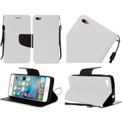 Insten Folio Leather Fabric Cover Case Lanyard w/stand For Apple iPhone 7 - White/Black
