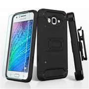 Insten Hard Hybrid Cover Case w/Holster + Tempered Glass Screen Protector For Samsung Galaxy J7 (2015) - Black