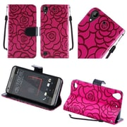 Insten Textured Rose Flower Design Leather Wallet Flip Cover Case For HTC Desire 530 - Hot Pink
