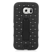 Insten Symbiosis Hard Dual Layer Rubber Coated Silicone Case w/stand/Diamond For Samsung Galaxy S6 - Black