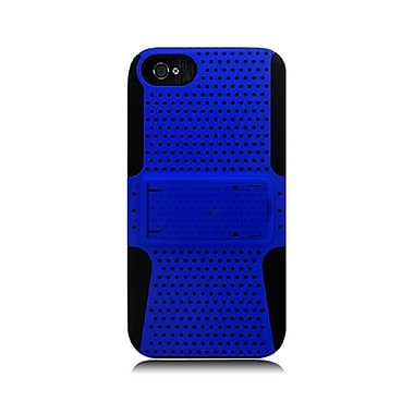 Insten TPU Rubber Hard PC Candy Skin Mesh Kickstand Case Cover For Apple iPhone 5 / 5S - Blue/Black