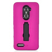 Insten Symbiosis Armor Hybrid Hard Stand Shockproof Case Back Cover For ZTE Zmax Pro - Hot Pink/Black