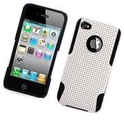 Insten TPU Rubber Hard PC Candy Skin Mesh Case Cover For Apple iPhone 4 / 4S - White/Black