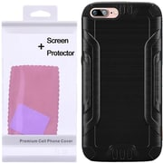 Insten Hard Hybrid Silicone Cover Case with Screen Protector For Apple iPhone 7 - Black