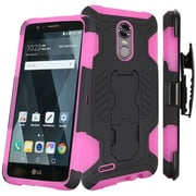 Insten SuperCoil Hybrid Premium Dual Layer Kickstand Holster Case For LG Stylo 3 / Stylo 3 Plus - Black/Hot Pink