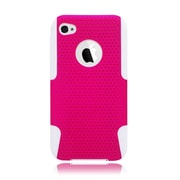 Insten TPU Rubber Hard PC Candy Skin Mesh Case Cover For Apple iPhone 4 / 4S - Hot Pink/White