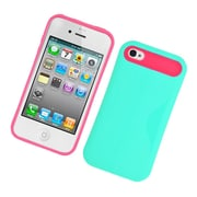 Insten Two-Tone/NightGlow Jelly Hybrid Hard Silicone Case Cover For Apple iPhone 4 / 4S - Green/Hot Pink