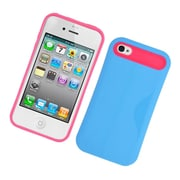 Insten Two-Tone/NightGlow Jelly Hybrid Hard Silicone Case Cover For Apple iPhone 4 / 4S - Blue/Hot Pink