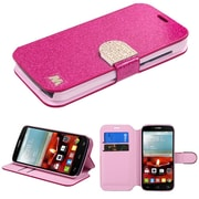 Insten Flip Leather Glitter Case w/stand/card slot/Diamond For Alcatel One Touch Fierce 2 7040T - Hot Pink/Gold