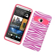 Insten Two-Tone/NightGlow Zebra Jelly Hybrid Hard Silicone Case Cover For HTC One M7 - Hot Pink/White
