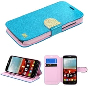 Insten Flip Leather Glitter Case w/stand/card slot/Diamond For Alcatel One Touch Fierce 2 7040T - Blue/Gold