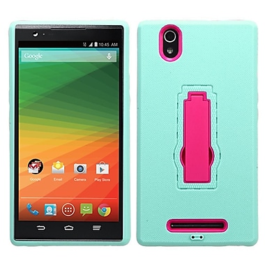 Insten Symbiosis Gel Dual Layer Rubber Hard Case w/stand For ZTE ZMax - Teal Green/Hot Pink