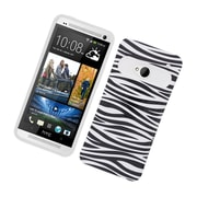Insten Two-Tone/NightGlow Zebra Jelly Hybrid Hard Silicone Case Cover For HTC One M7 - Black/White