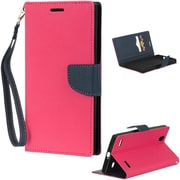 Insten Diary Leather Wallet Flip Card Pocket Stand Case Cover For ZTE Lever LTE - Hot Pink/Blue