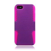 Insten TPU Rubber Hard PC Candy Skin Mesh Case Cover For Apple iPhone 5 / 5S - Purple/Hot Pink