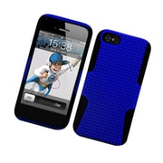 Insten TPU Rubber Hard PC Candy Skin Mesh Case Cover For Apple iPhone 5 / 5S - Blue/Black