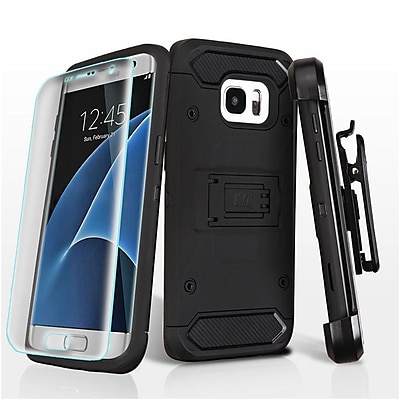 Insten Hard Hybrid Plastic TPU Stand Holster Clip Case + Screen Protector For Samsung Galaxy S7 Edge - Black