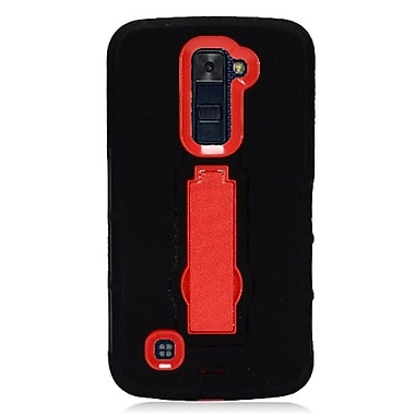 Insten Symbiosis Armor Hybrid Hard Stand Shockproof Case Back Cover For LG K10 K420N - Black/Red