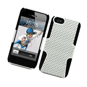 Insten TPU Rubber Hard PC Candy Skin Mesh Case Cover For Apple iPhone 5 / 5S - White/Black