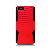 Insten TPU Rubber Hard PC Candy Skin Mesh Case Cover For Apple iPhone 5 / 5S - Red/Black