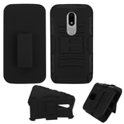 Insten Car Armor Hard Dual Layer Plastic Silicone Cover Case w/Holster For Motorola Moto M - Black