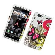 Insten Butterfly Hard Rubber Case For Motorola Droid Razr Maxx - White/Pink