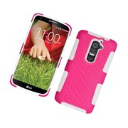 Insten TPU Rubber Hard PC Candy Skin Mesh Case Cover For LG G2 D801 T-Mobile/G2 LS980 Sprint - Hot Pink/White