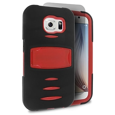 Insten Silicone Dual Layer Rubber Hard Case with Stand For Samsung Galaxy S6 - Black/Red