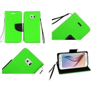 Insten Folio Leather Fabric Cover Case Lanyard w/stand/card holder For Samsung Galaxy S6 - Neon Green/Black
