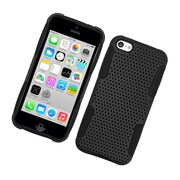 Insten TPU Rubber Hard PC Candy Skin Mesh Case Cover For Apple iPhone 5C - Black