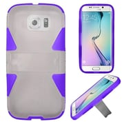 Insten Hard Dual Layer Rubberized Silicone Case w/stand For Samsung Galaxy S6 Edge - White/Purple