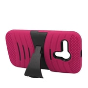 Insten Wave Symbiosis Gel Rubber Hard Case w/stand For Motorola Moto G - Hot Pink/Black
