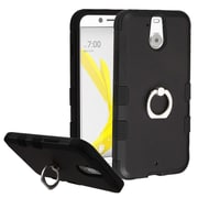 Insten Hard Dual Layer Rubber Silicone Cover Case w/Ring stand For HTC Bolt - Black