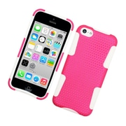 Insten TPU Rubber Hard PC Candy Skin Mesh Case Cover For Apple iPhone 5C - Hot Pink/White