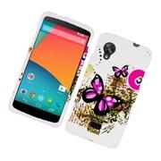 Insten Butterfly Hard Cover Case For LG Google Nexus 5 - White/Pink