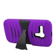 Insten Wave Symbiosis Silicone Rubber Hard Cover Case w/stand For Motorola Moto G - Purple/Black