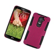 Insten TPU Rubber Hard PC Candy Skin Mesh Case Cover For LG G2 D801 T-Mobile/G2 LS980 Sprint - Hot Pink/Black