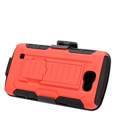 Insten Hard Hybrid Plastic Silicone Stand Case with Holster For LG Optimus Zone 3 / Spree - Red/Black