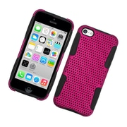 Insten TPU Rubber Hard PC Candy Skin Mesh Case Cover For Apple iPhone 5C - Hot Pink/Black