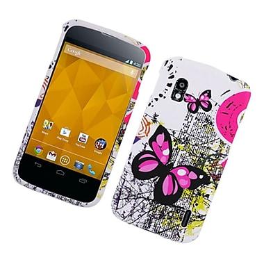Insten Butterfly Hard Case For LG Google Nexus 4 - White/Pink