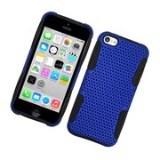 Insten TPU Rubber Hard PC Candy Skin Mesh Case Cover For Apple iPhone 5C - Blue/Black