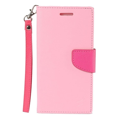 Insten Book-Style Wallet Leather Case with Card Slot & Lanyard For LG V10 - Pink/Hot Pink
