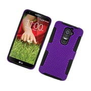 Insten TPU Rubber Hard PC Candy Skin Mesh Case Cover For LG G2 D801 T-Mobile/G2 LS980 Sprint - Purple/Black