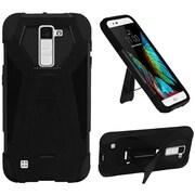 Insten Hard Hybrid Plastic Silicone Case w/stand For LG K10 - Black