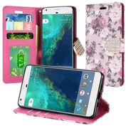 Insten Roses Flip Leather Fabric Cover Case w/stand/card holder/Photo Display/Diamond For Google Pixel - Purple/White
