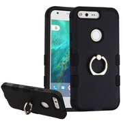 Insten Hard Hybrid Rubber Silicone Case w/Ring stand For Google Pixel - Black