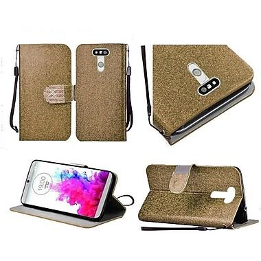 Insten Flip Leather Glitter Cover Case Lanyard w/stand/Diamond For LG G5 - Gold